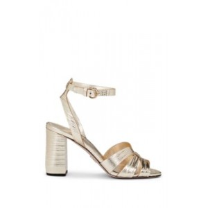 Lizard-Stamped Metallic Leather Sandals  XZZMNAS