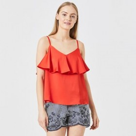 Red Silky Satin Touch Ruffle Layered Cami Top Lenght 47cm/185inches Plunge neck QFHVKYQ