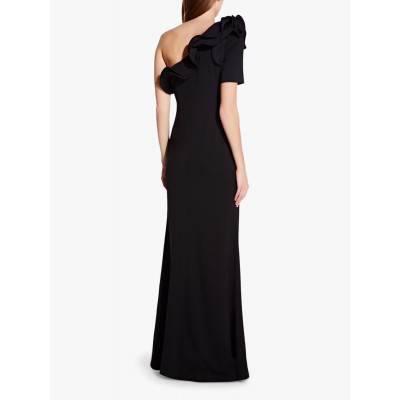 Adrianna Papell Asymmetric Drape Crepe Dress Black NAFMWBQ