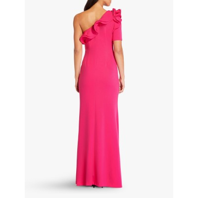 Adrianna Papell Long Draped Crepe Dress Geranium SKNDBDW