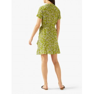 Jigsaw Leaf Print Silk Dress Lime  OUXPFOO