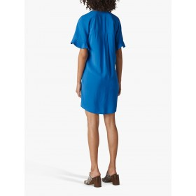Whistles Alba Ruffle Sleeve Dress Blue  QDJPXJL