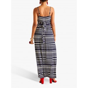 Yumi Nautical Stripe Jersey Maxi Dress Navy  QXSALCJ