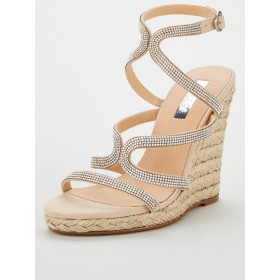 OFFICE Honeydew Embellished Wedge Sandals - Nude  SVIDEBW