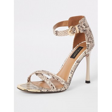 River Island River Island Wide Fit Barely There Heeled Sandals - Snake  YGSLERJ