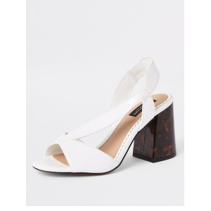River Island River Island Wide Fit Contrast Heel Sandals - White  JZTDLQS