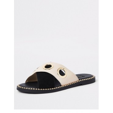 River Island River Island Wide Fit Eyelet Cross Strap Sandal - Black  LICFXGH