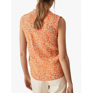 Reiss Cecily Button Detail Silk Top Coral  GPFANWS