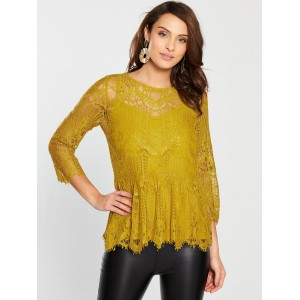 River Island Lace Peplum Blouse - Yellow  EMQLRXD