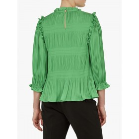 Ted Baker Airlie Pleated Smocking High Neck Top Green  TITIPKW