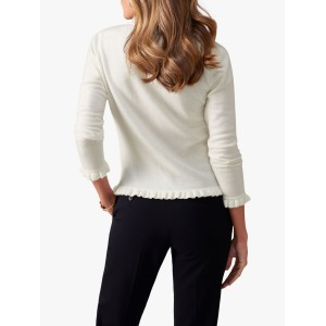 Pure Collection Fewston Ruffle Edge Cashmere Cardigan Soft White  XWSOFMJ
