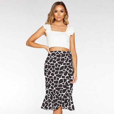 Black and White Giraffe Print Wrap Skirt Giraffe print Wrap style IITMUGE