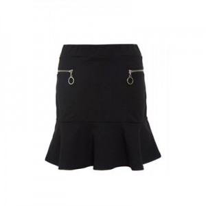Black frill zip skirt Perfect for back to school Silver detailing VYSTPRR